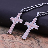 Personalized Gift   Rose Gold   Men's Stainless Steel   Cross Shapes  Engraved Pendant Necklace Jewelry with 60cm Chain