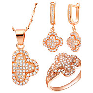 Women's Gold/Silver Jewelry Set Cubic Zirconia