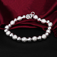 High Quality Classic Silver Silver-Plated Beads Strand Bracelets