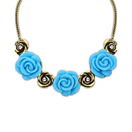 Fashion Lovely Style (Flowers) Alloy Resin Rhinestone Lady All Match Statement Necklace (More Colors) (1 pc)