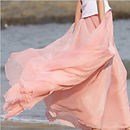 Women's Solid Pink/Blue Skirt,Casual/Maxi Swing