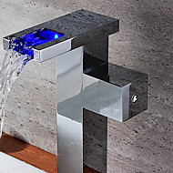 Contemporary Chrome Finish One Hole Single Handle LED Waterfall Centerset Brass Sink Faucet