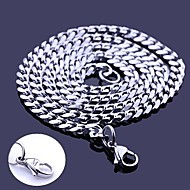 Personalized Gift Silver Stainless Steel Jewelry  Engraved Chain Necklace 0.5cm Width