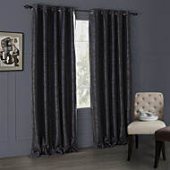 Modern Two Panels Floral  Botanical Black Living Room Polyester Panel Curtains Drapes