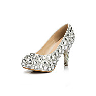 Women's Spring Summer Fall Winter Platform Glitter Wedding Party & Evening Stiletto Heel Platform Rhinestone Silver