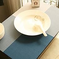 צבע רב פשוט כיכר בדוגמת השולחן שטיחון לארוחת ערב, L45cm x רוחב 30cm, PVC עמיד בחום