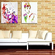 Stretched Canvas Art People Marilyn Monroe and Audrey Hepburn Set of 2
