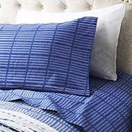 """Sheet Set ,4-Piece Mikrofiber Stripe Mørkeblå med 12 """"Pocket Dybde"""