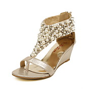 Women's Shoes Wedge Heel Wedge Sandals Shoes Accented With Pearl (More Colors)