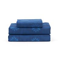 """Plansatz, 4-teilig Microfaser Blumen Dark Blue mit 12 """"Taschentiefe"""