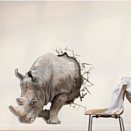 3D The Rhino  Wall Stickers Wall Decals
