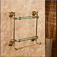 Badezimmer Regal Bronze, antik Wandmontage 40*12*40cm(15.74*4.72*15.74inch) Messing / Glas Antik