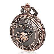 Men's Marine Corps Pattern Bronze Alloy Quartz Pocket Watch Cool Watch Unique Watch