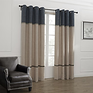 Two Panels Curtain Neoclassical , Stripe Living Room Linen Material Curtains Drapes Home Decoration For Window