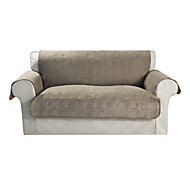 Waterproof Microsuede Khaki Solid Cube Quilting Loveseat Cover
