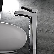 Contemporary Chrome One Hole Single Handle Waterfall Bathroom Sink Faucet