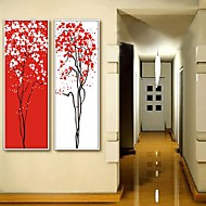 Abstract Red and White Tree Konst Inramat Canvastryck Set med 2
