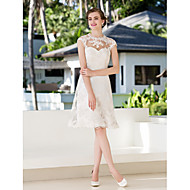 Lanting Bride A-line Petite / Plus Sizes Wedding Dress-Knee-length Jewel Lace