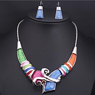 women's Colored Gemstone Jewelry Set(Earrings &Necklace)