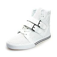 Non Customizable Men's Dance Shoes Hip-Hop/Dance Sneakers Leatherette Flat Heel Black