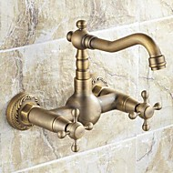 Traditional Bar/­Prep Wall Mounted Ceramic Valve Two Holes Two Handles Two Holes for  Antique Brass , Kitchen faucet