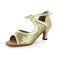 Customizable Women's Dance Shoes Latin Leatherette Chunky Heel Silver/Gold