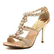 Women's Spring Summer Fall T-Strap Leatherette Dress Party & Evening Stiletto Heel Rhinestone Gold