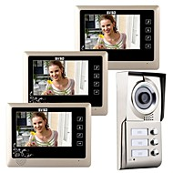 "7 ""lcd touch key video dør telefon doorbell hjem indrejse intercom til 3 familier"
