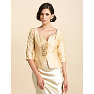 3/4 Sleeves Taffeta Special Occasion Mother Of The Bride Evening Jacket/ Wedding Wrap(More Colors) Bolero Shrug