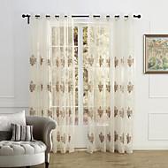 země, dva panely květinový botanický béžový ložnice polyesterové čiré záclony odstíny