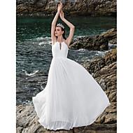 Lanting Sheath/Column Plus Sizes Wedding Dress - Ivory Floor-length Halter Chiffon