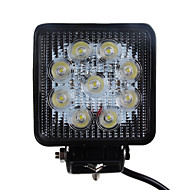 27W 1680LM 6000K Square Car LED Work Light Vanntett Flood Beam Lampe for SUV Truck 4WS (DC9-32V)