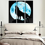 The Wolf Under The Moon Clock in Canvas 3pcs