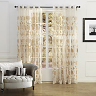(Two Panels) Country Elegant Beige Blossoms Embroidery Sheer Curtain