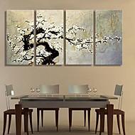 Canvas Art A flor da ameixa Decoração Conjunto de 4