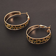 Fashion Circle Shape Leopard Print Golden Hoop Earrings(1 Pair)