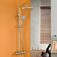 Contemporary Shower System Thermostatic / Rain Shower / Handshower Included with  Ceramic Valve Single Handle Three Holes for  Chrome ,