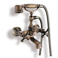 Antique Tub And Shower Handshower Included with  Ceramic Valve Two Handles Two Holes for  Antique Brass , Bathtub Faucet