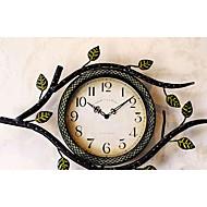 "17""H Vintage Olive Branch Design Brown Metal Wall Clock"