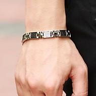 Муж. Браслет разомкнутое кольцо Теннисные браслеты Драгоценный камень Титановая сталь Уникальный дизайн Мода Бижутерия Серебряный с черным