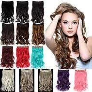 20 Inch Long sintético ondulado grampo em extensões do cabelo com 5 Clipes - 17 cores disponíveis