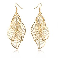 Drop Earrings Hollow Elegant Long European Statement Jewelry Alloy Leaf Black Sliver Golden Jewelry For Wedding Party Daily Casual 1 Pair