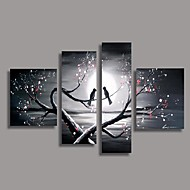 Bird in the Tree Oil Painting with Stretched Frame Set of 4 Hand-Painted Canvas