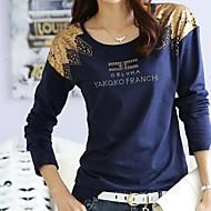T-shirt (Bomuld) - Bodycon/Hverdag/Med tryk/Plusstørrelser - Langærmet - Tynd
