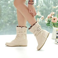 Women's Fall Winter Fashion Boots Leatherette Outdoor Office & Career Dress Casual Low Heel Buckle Black Pink White Beige