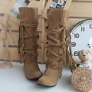 Damen Slouch Stiefel Wildleder Herbst Winter Normal Rüschen Schnürsenkel Keilabsatz Kamel Schwarz Rosa Braun Beige Flach
