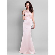 TS Couture® Prom / Military Ball / Formal Evening Dress - Pearl Pink Plus Sizes / Petite Trumpet/Mermaid Jewel Floor-length Satin / Lace