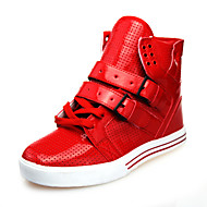 Herre-Kunstlær-Flat hæl-KomfortFritid-Svart Rød Hvit