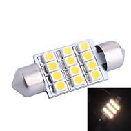 36 milímetros 3W 150LM 3000K 12x3528SMD LED branco quente para carro Reading / matrícula / Porta Lâmpada (DC12V, 1pcs)
