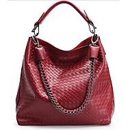 Women's Woven Pattern Genuine Leather Shoulder Bag Crossbody Bag Tote Shopping Bag